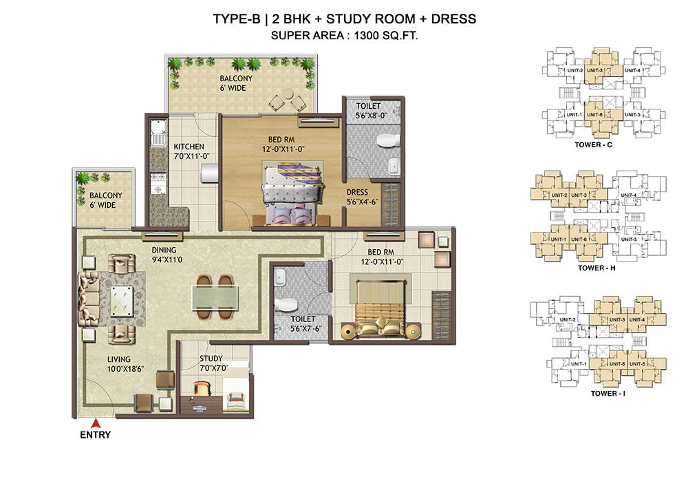 Floor plans shree vardhman group for Cost to build 1300 square foot house