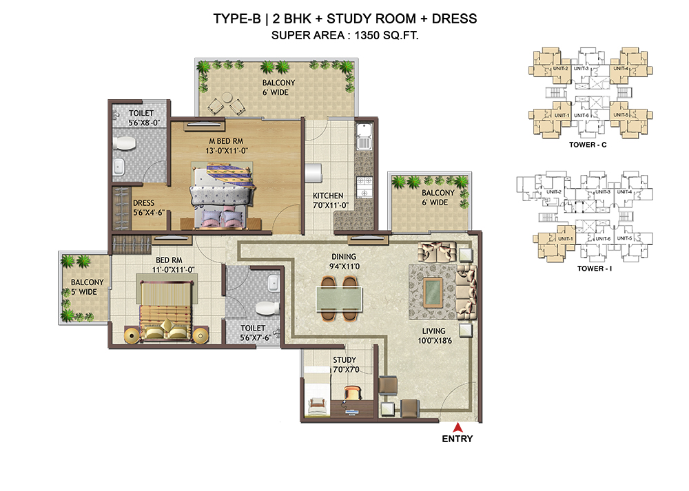 2BHK+Study - 1350 Sq. Ft.