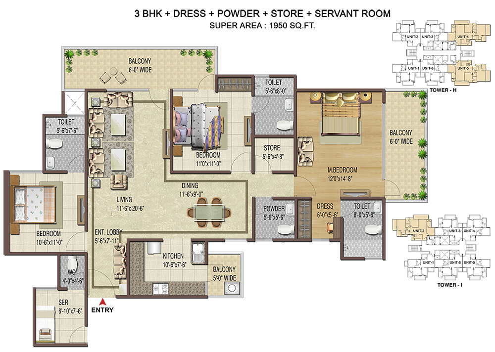 3BHK+Servant - 1950 Sq. Ft.