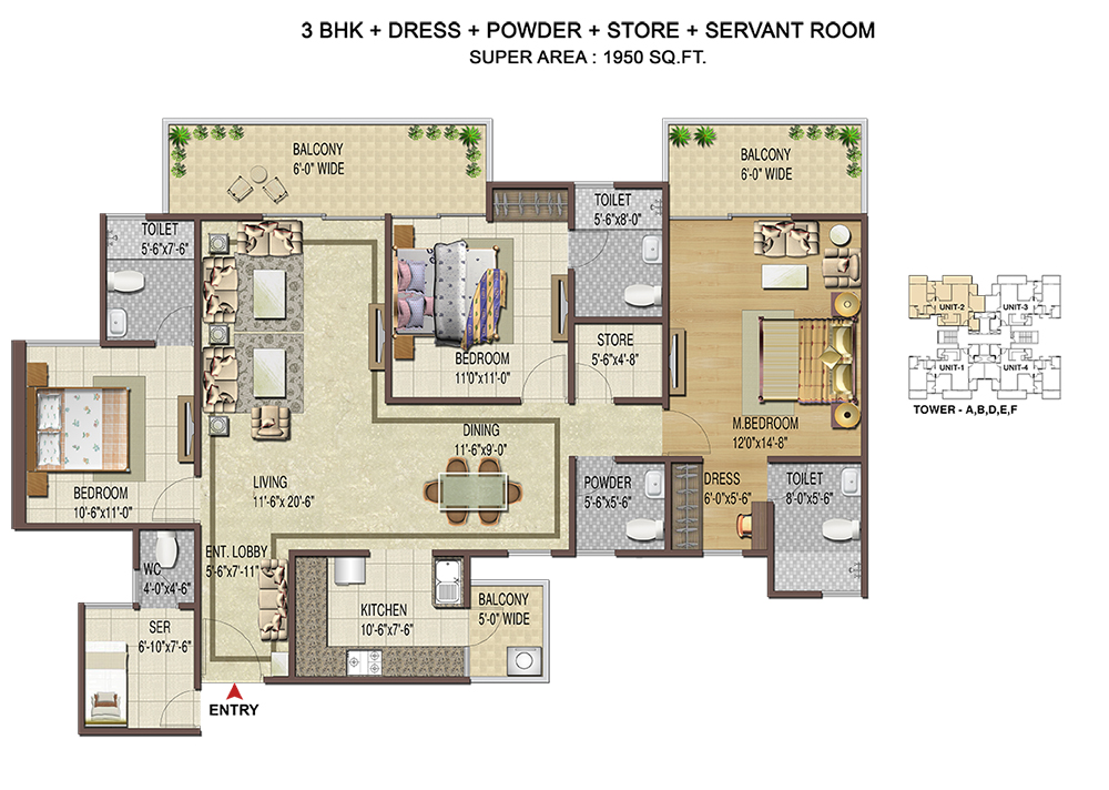 3BHK+Servant -1950 Sq. Ft.