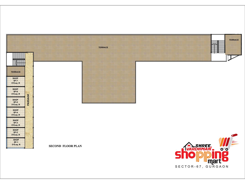 Shree Vardhman Shopping Mart - Second Floor Plan