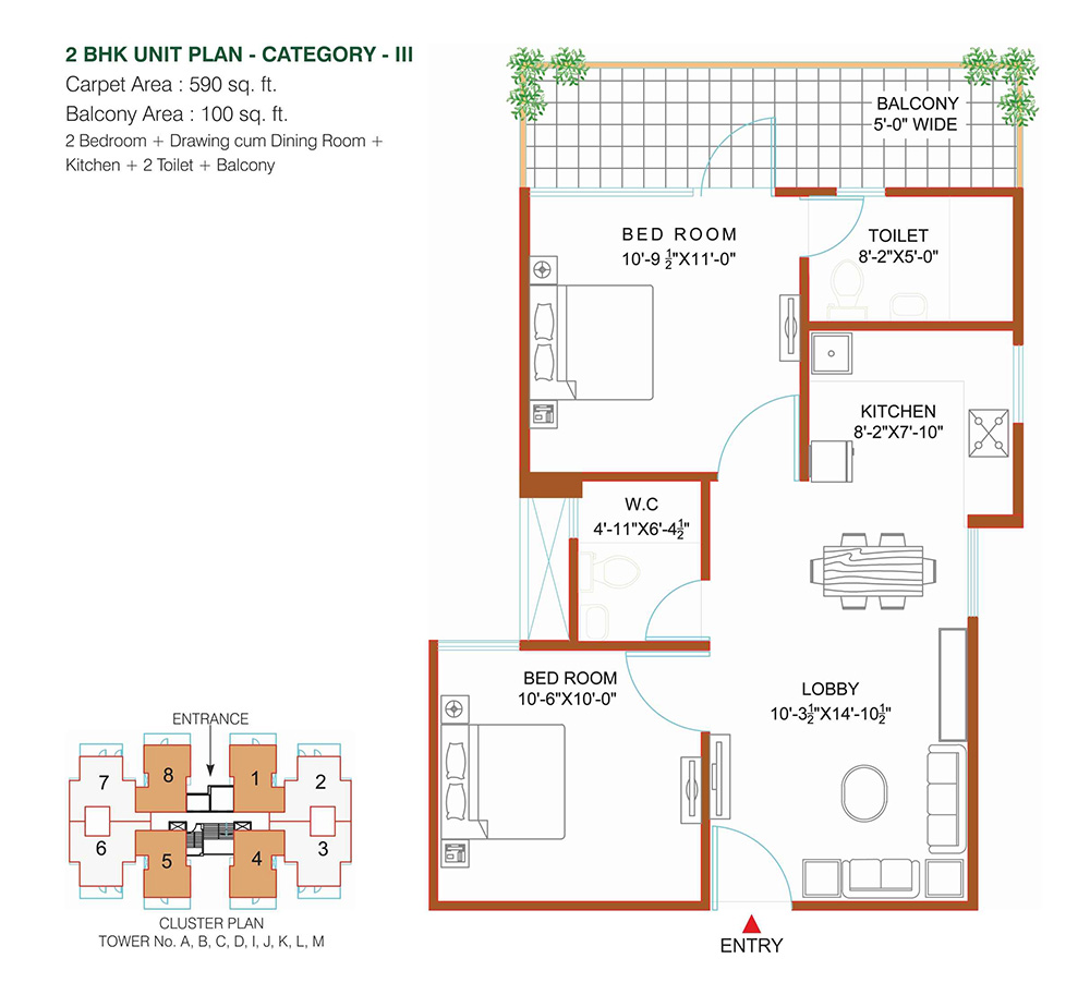 2BHK 526 Sq. Ft.