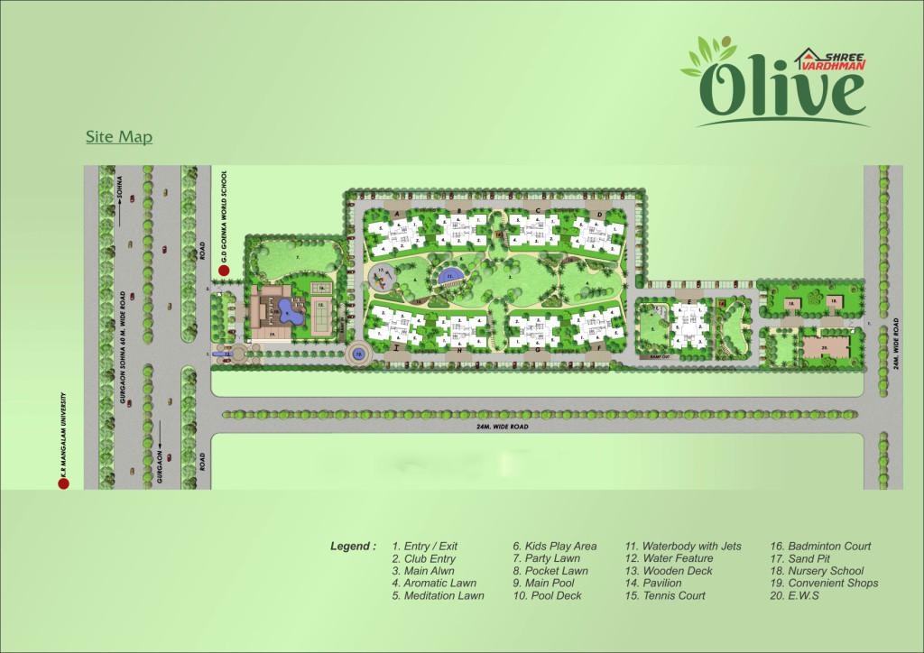 Shree Vardhman Olive Site Map