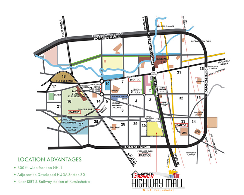 Shree Vardhman Highway Mall -  Location Map